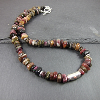 Tourmaline and Sterling Silver Necklace, Earth Tones