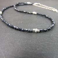 Black Faceted Spinel Necklace with Sterling Silver
