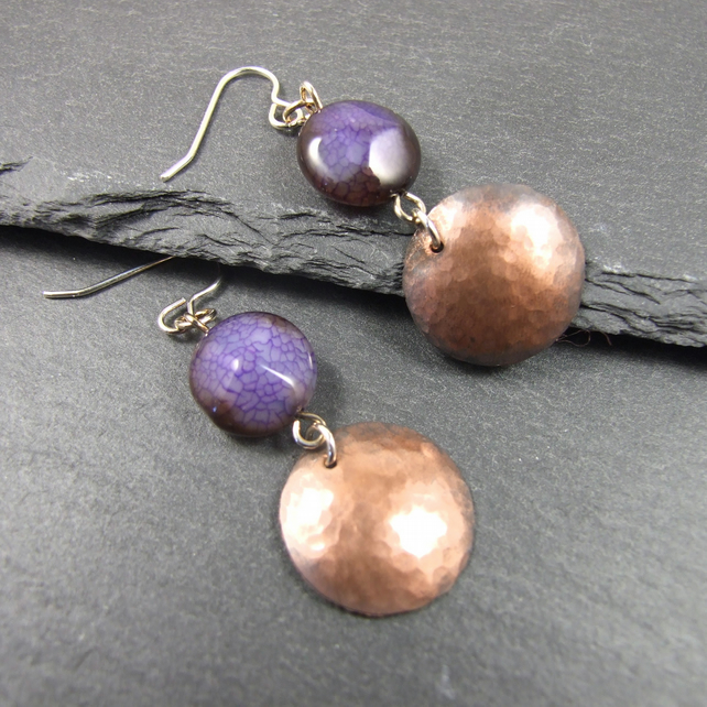 Earrings, Artisan Geometric Copper Disc, Purple Agate & Sterling Silver