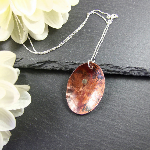 Artisan Necklace, Copper Geometric Oval Pendant with Sterling Silver
