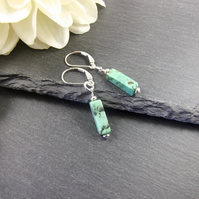 Earrings, Sterling Silver, Lever Back with Turquoise Gemstone Dropper