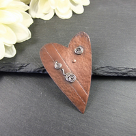 Heart Brooch, Artisan Design Copper & Sterling Silver