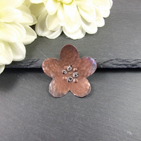 Flower Brooch, Artisan Design Copper with Sterling Silver Accents