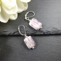 Earrings, Sterling Silver, Lever Back with Amethyst Gemstone Dropper