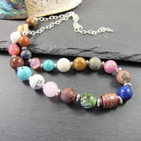 Mixed Gemstone and Sterling Silver Necklace with Handcrafted Artisan Copper Bead