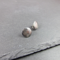 Earrings, Sterling Silver, Simple Round Button Studs