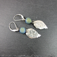 Earrings, Lever Back Teal Druzy Agate and Sterling Silver Leaf