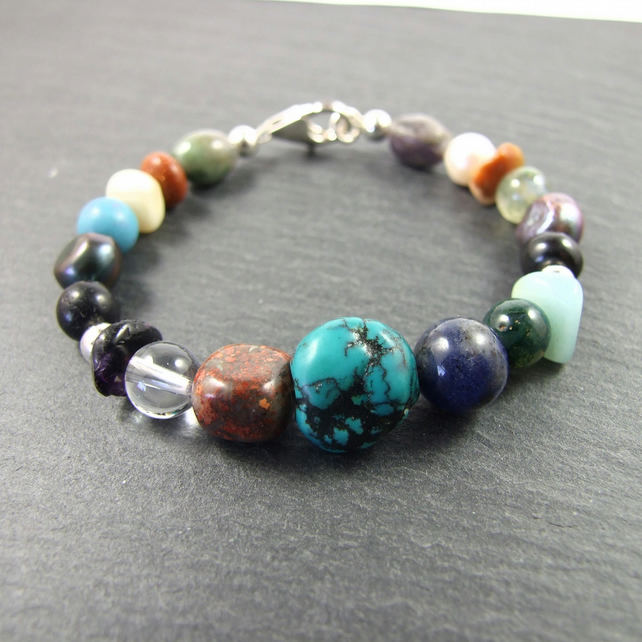 Multi Coloured Gemstone Mix Bracelet with Sterling Silver