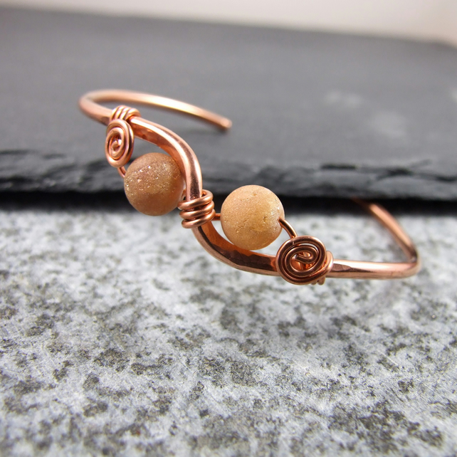 Copper Bangle with Golden Druzy Agate