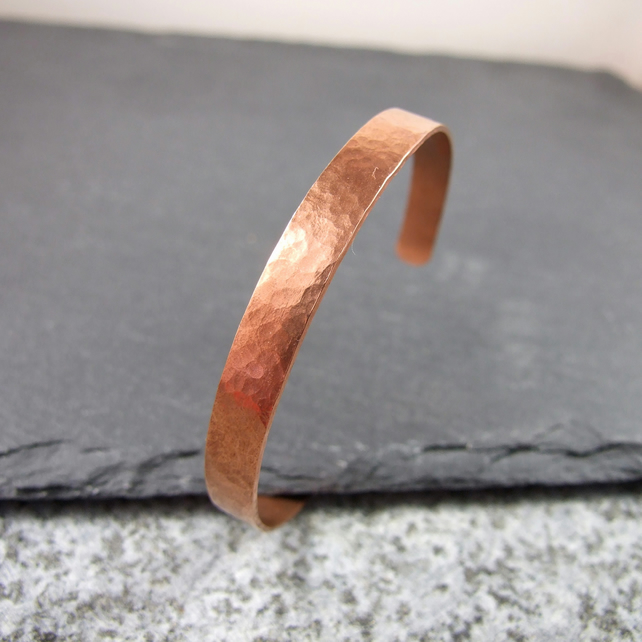 Hammered Copper Cuff Bangle, Large Size