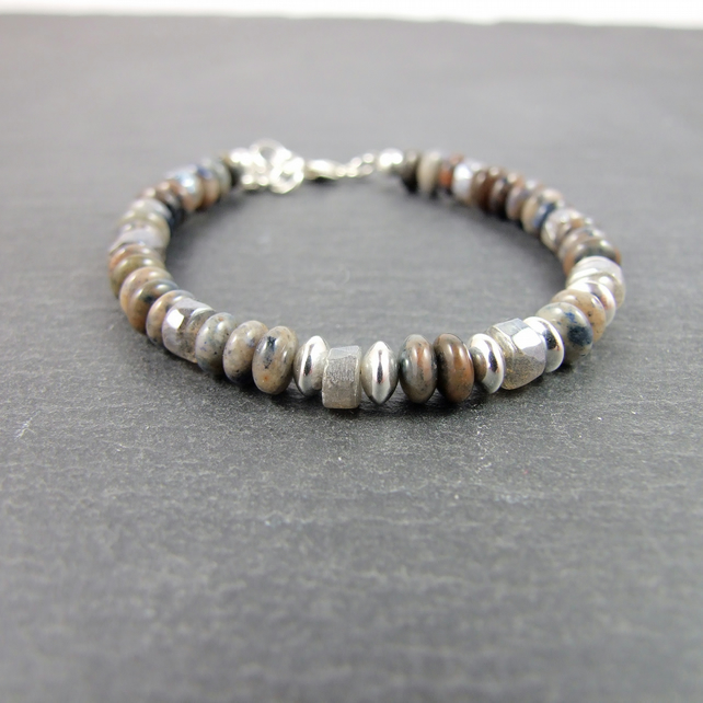 Labradorite and Dumortierite Gemstone Bracelet with Sterling Silver