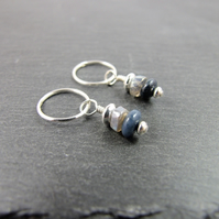 Sterling Silver Earrings Dumortierite & Labradorite Gemstones