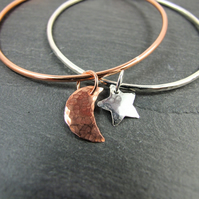 Sterling Silver and Copper Moon & Star Stacking Bangle Set