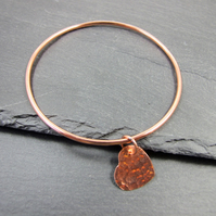 Copper Bangle, with Hammered Heart Charm