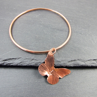 Copper Bangle, with Hammered Butterfly Charm