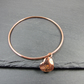 Copper Bangle, with Hammered and Domed Heart Charm