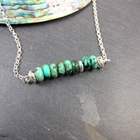 Artisan Necklace, Sterling Silver with Turquoise Bar