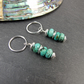 Earrings, Sterling Silver, Hoops with Turquoise Gemstone Dropper