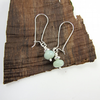 Earrings, Sterling Silver Long Drop Green Amazonite