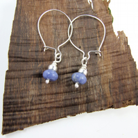 Earrings, Sterling Silver Blue Sodalite Gemstone Dangle