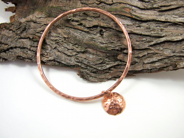 Copper Bangle, with Hammered and Domed Moon Charm