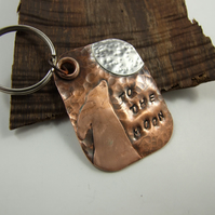 Bag Charm, Keyring, Moon Gazing Hare, Copper & Sterling Silver