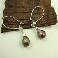 Pearl Earrings, Sterling Silver, Large Coffee Colour Freshwater Pearl Dropper