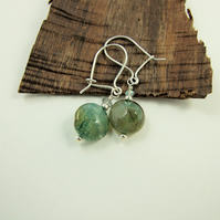 Earrings, Sterling Silver, Green Agate and Labradorite Dropper