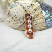 Family Peas in a Pod Necklace Sterling Silver, Copper & Freshwater Pearls