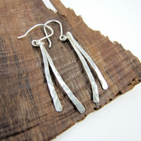 Sterling Silver Hammered Dropper Earrings, Contemporary Design