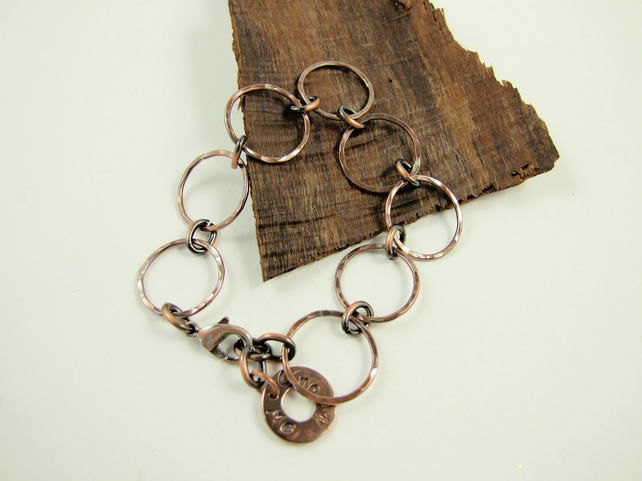 Bracelet, Copper Hand Forged Chain Links with Me & You Charm