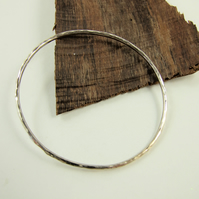 Sterling Silver Simple Hammered Oval Bangle