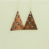 Christmas Tree Earrings, Copper & Sterling Silver