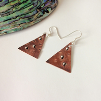 Earrings, Artisan Geometric Triangle Copper & Sterling Silver, Christmas Trees