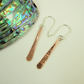 Earrings, Hammered Copper Dropper with Sterling Silver