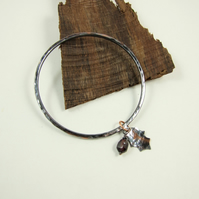 Copper Bangle, Hammered Oxidised Finish with Holly Leaf and Garnet Berry Charms