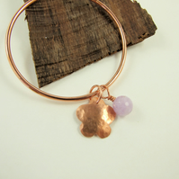 Copper Bangle, with Hammered Flower Charm and Amethyst Gemstone