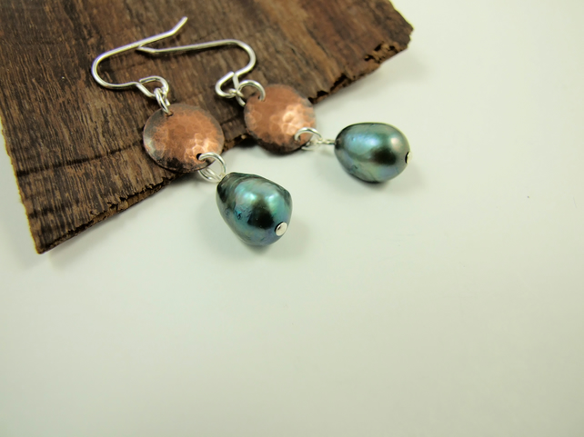 Earrings, Sterling Silver, Copper and Peacock Freshwater Pearl Dangle