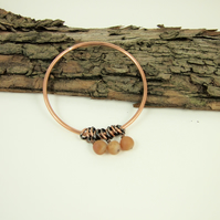 Copper Bangle, with Golden Frosted Druzy Agate Gemstones