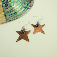 Copper Star Earrings, Sterling Silver, Lapis Lazuli and Swarovski® Elements