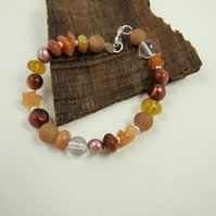 Mixed Gemstone Bracelet in Natural Earth Tones with Sterling Silver