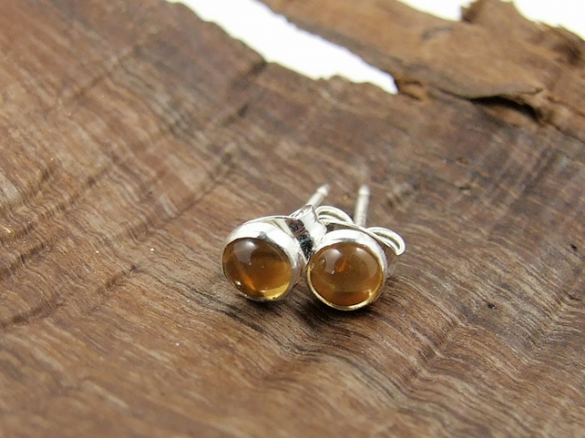 Tiny Citrine Gemstone and Sterling Silver Stud Earrings, November Birthstone
