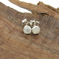 Tiny Moonstone Gemstone and Sterling Silver Stud Earrings