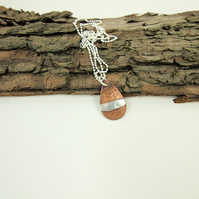Teardrop Necklace, Dainty Copper Pendant with Sterling Silver