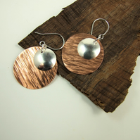Earrings, Artisan Hammered Copper & Sterling Silver Geometric Circles