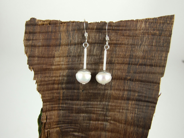 White Button Pearl and Sterling Silver Elegant Dropper Earrings