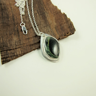 Jasper Necklace, Sterling Silver with Bezel Set Green Gemstone