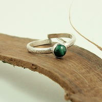 Sterling Silver and Green Malachite Ring, Adjustable Fit, Freesize