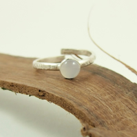 Sterling Silver and Grey Moonstone Ring, Adujstable Fit, Freesize