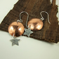 Earrings, Hammered Copper & Sterling Silver Moon & Star